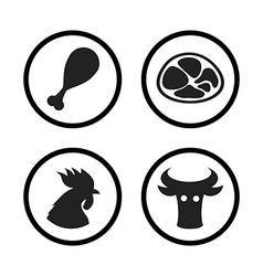 Set of Farm and Agriculture icons in black color vector image vector image