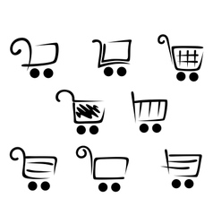 Shopping cart icons set vector