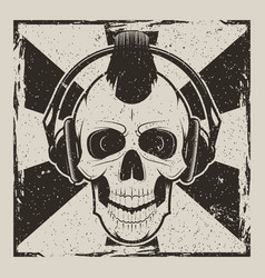 Skull music punk vintage grunge design vector