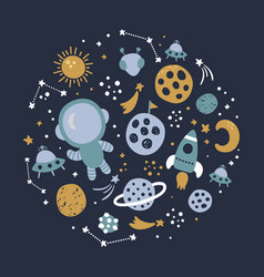 space concept in circle dark blue background vector image