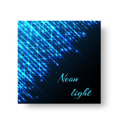 square greeting card with neon light vector image