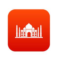 Taj mahal icon digital red vector