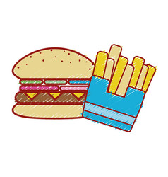 Tasty hamburger with fries french fast food vector