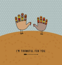 Thanksgiving card with cute hand print turkeys vector