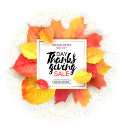 Thanksgiving sale letter with yellow leaves fall vector