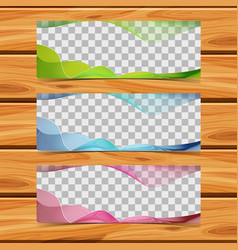 three banners with wavy lines vector image