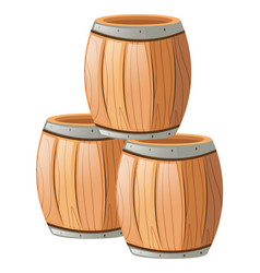 three wooden barrels on white vector image