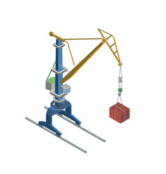 Tower crane with container isometric 3d element vector