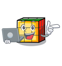 With laptop rubik cube character cartoon vector