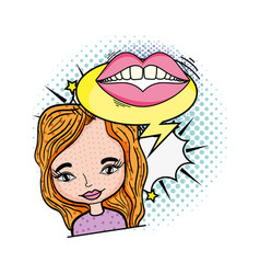 woman with mouth and speech bubble pop art style vector image