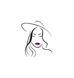 women beautiful face logo vector image