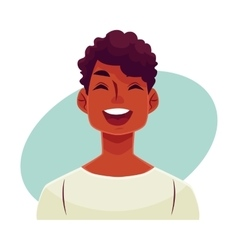 Young african man face laughing facial expression vector image