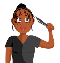 black girl plaiting hair vector image