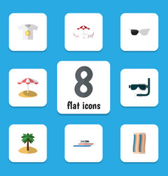 Flat icon season set of clothes wiper boat and vector