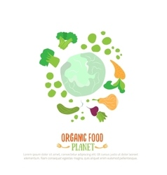 Organic food planet logo for vegan cafe with vector image vector image
