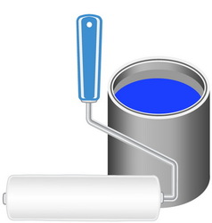 paint roller with bucket vector image
