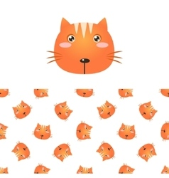 Cat Head Icon And Pattern vector image vector image