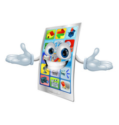 cell phone mascot cartoon vector image vector image