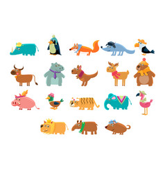 cute animals big set in bright colors childish vector image vector image