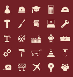 engineering color icons on red background vector image vector image
