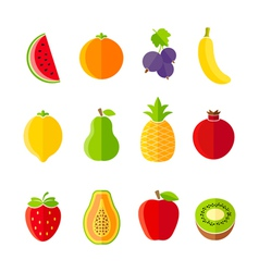 Organic fresh fruits and berries icons set vector image