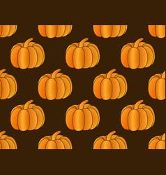 pumpkin seamless pattern on black background vector image