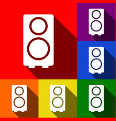 speaker sign set of icons vector image vector image