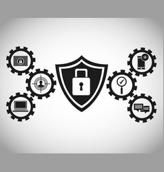 technology protection cyber padlock vector image