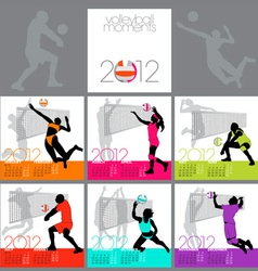 volleyball moments 2012 calendar template vector image vector image