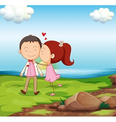A sweet couple near the river vector image vector image