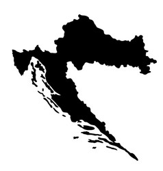 black silhouette country borders map of croatia vector image vector image