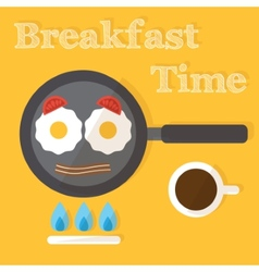 Breakfast time fried eggs making process preparing vector