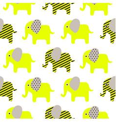 cute elephant cartoon neon green baby seamless vector image vector image