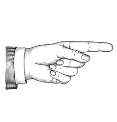 Hand with pointing finger Woodcut vector image vector image