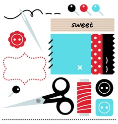 Sewing set isolated on white - blue and red vector image