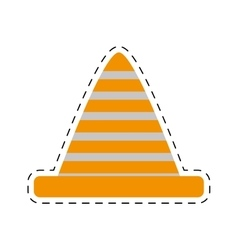 Traffic cone caution sign cut line vector
