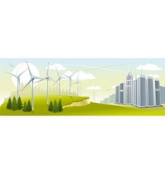 Wind turbine park vector image