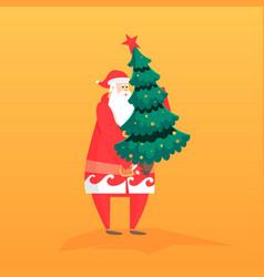 new year flat with santa gift vector image vector image