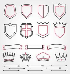 Set line shields heraldic crowns ribbons ar vector image