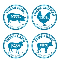Set of fresh meat labels vector image vector image