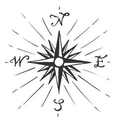sketch sign wind rose vector image
