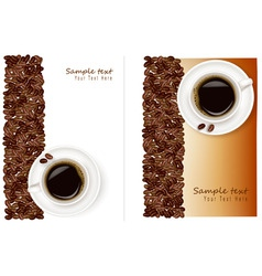 two desings with bean and coffee vector image