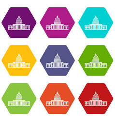 white house icon set color hexahedron vector image