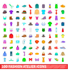 100 fashion atelier icons set cartoon style vector