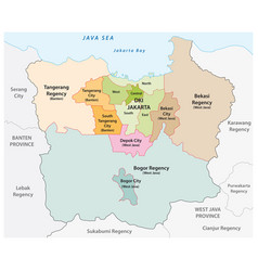 Administrative map metropolitan jakarta vector