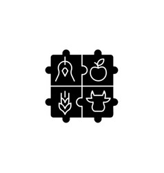 Agricultural cooperative black glyph icon vector