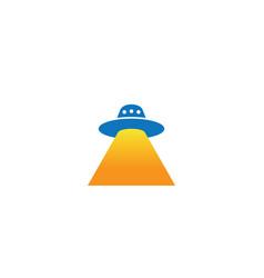 alien ship fly with light for logo design vector image