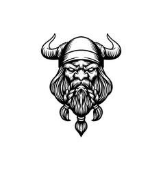 angry head viking mascot logo silhouette vector image