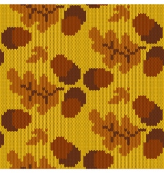 Autumn knitted pattern 3 vector