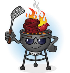 barbecue grill cartoon character with attitude vector image